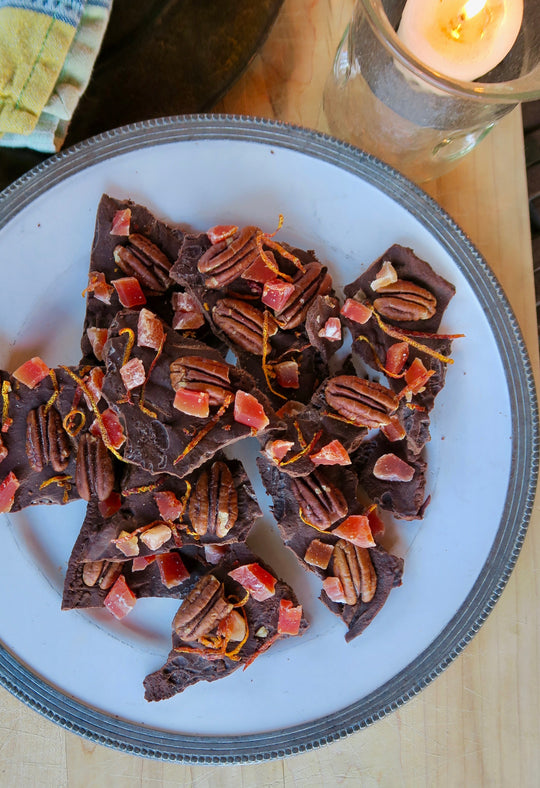 chocolate bark with papaya, pecans & orange liquor