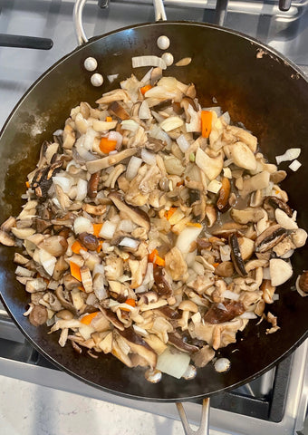 chopped mushroom and onions garlic carrots