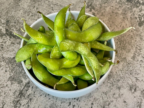 edamame in a bowl for poke