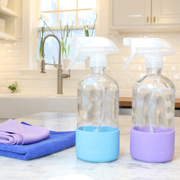 Refillable Glass Spray Bottles with Silicone Sleeves - Bright Collection