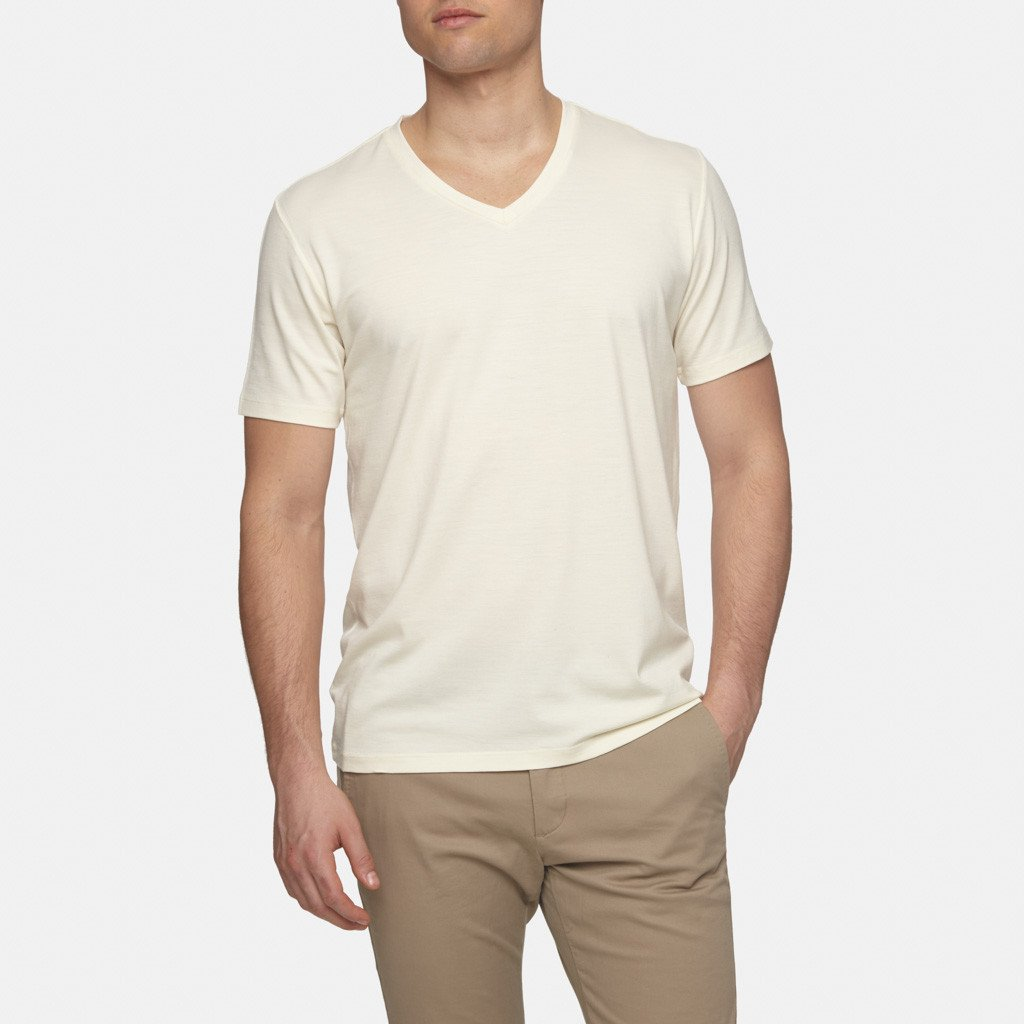 Wool Prince Merino Wool V Neck T Shirt Natural White