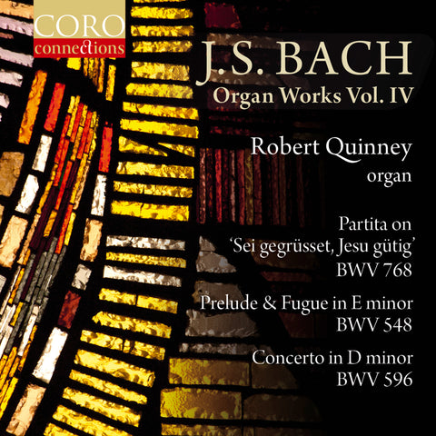 J.S. Bach: Organ Works Volume 4 album cover showing detail of a stained glass window in reds, oranges and yellows