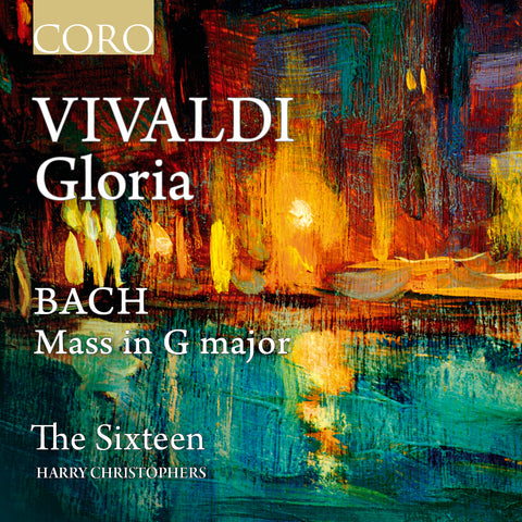 Vivaldi: Gloria, Bach: Mass in G major album cover showing an abstract painting of a night time view of Venice across the lagoon