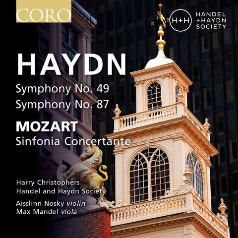 Haydn Symphonies Nos. 49 & 87 album cover showing a photo of The Old State House in Boston, MA, USA