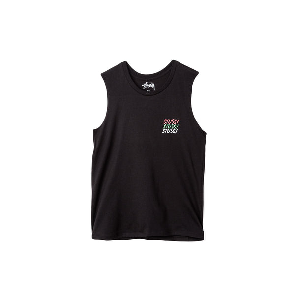 Stussy Women's Jah Bless Raw Edge Muscle Tee- Black