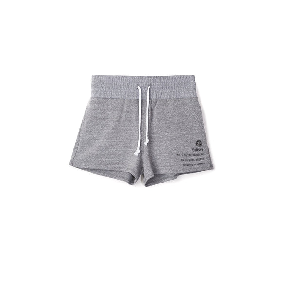 Stussy Women's 80-17 Gym Shorts- Grey Heather
