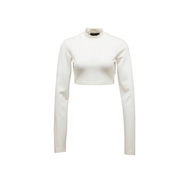 Puma, Puma by Rihanna, Puma Fenty, LS Cropped Mock Neck Top, 573174-02, White, Long Sleeve