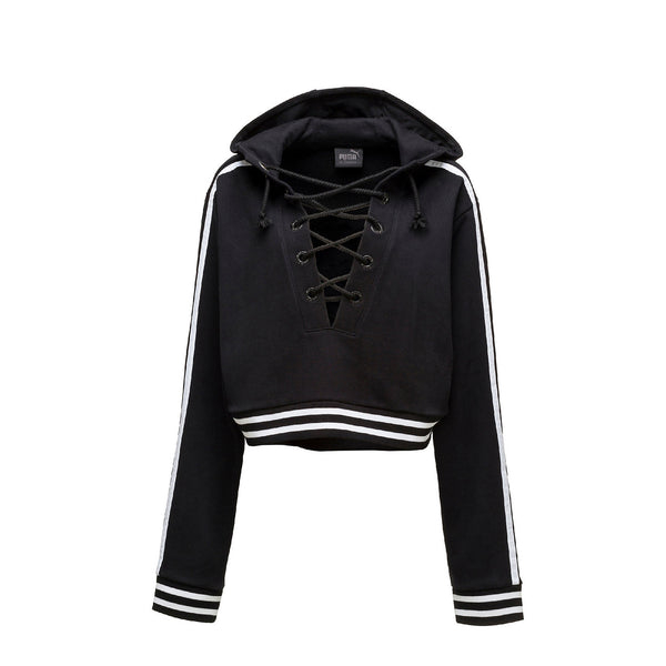 Puma, Puma Fenty, Puma By Rihanna, Rihanna, Fenty, Rising Sun, Lacing Sweatshirt, 573416-01, Black, Red