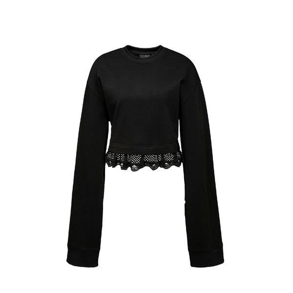 FENTY by Rihanna Cropped Long Sleeve Sweatshirt- Black
