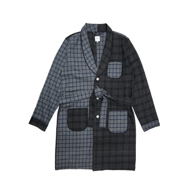 Blurhms, Men's, Wear Comfort Check Gown, Grey