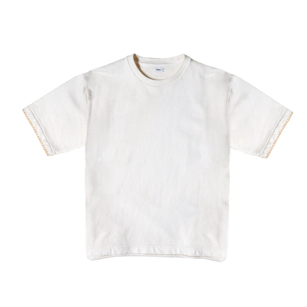 Blurhms Men's Cut-Off Embroidery Sweatshirt- Off White