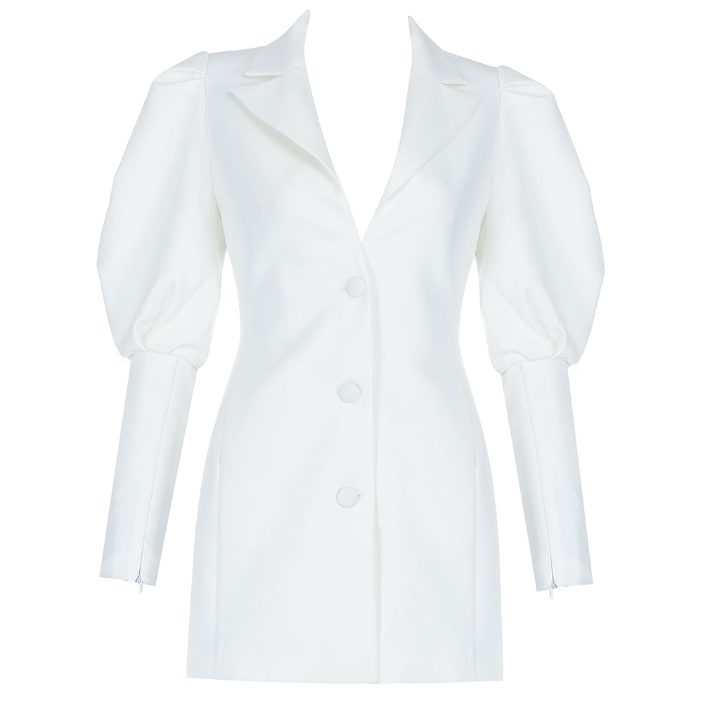 White Mini Blazer Dress uloani.myshopify.com