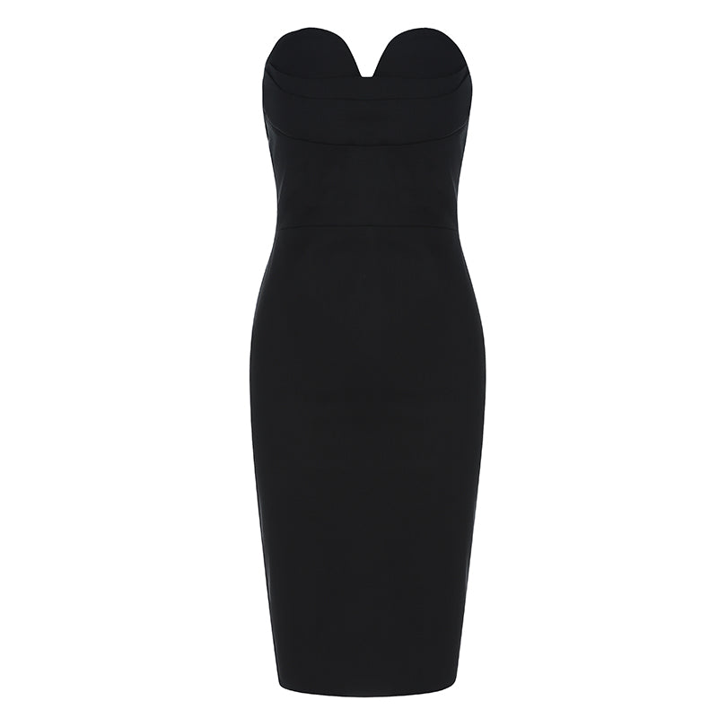 Black Illusion Bra Midi Dress