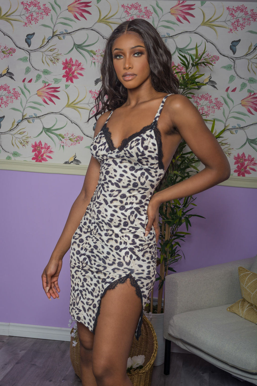 Leopard Lace Slip Mini Dress uloani.myshopify.com