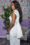 White Halter Neck Bow Dress