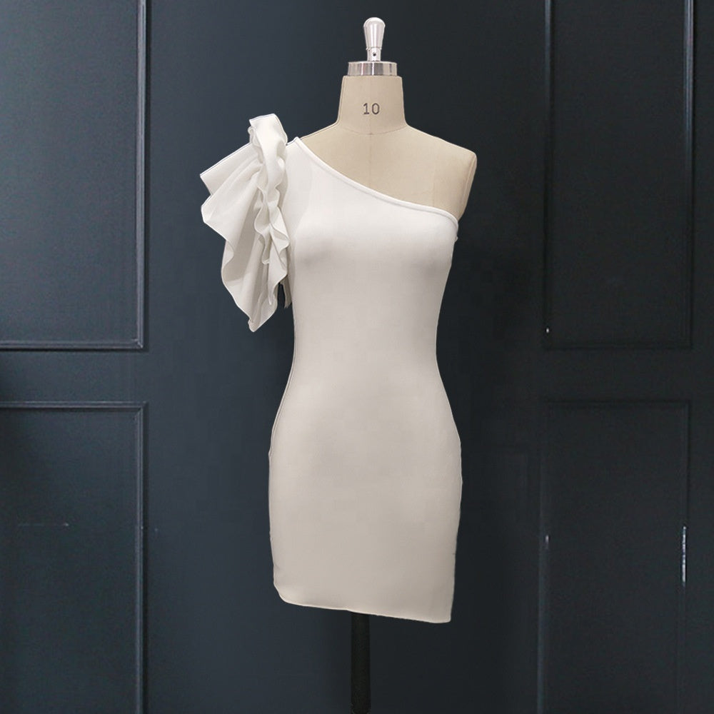 White Ruffle Sleeve Dress uloani.myshopify.com