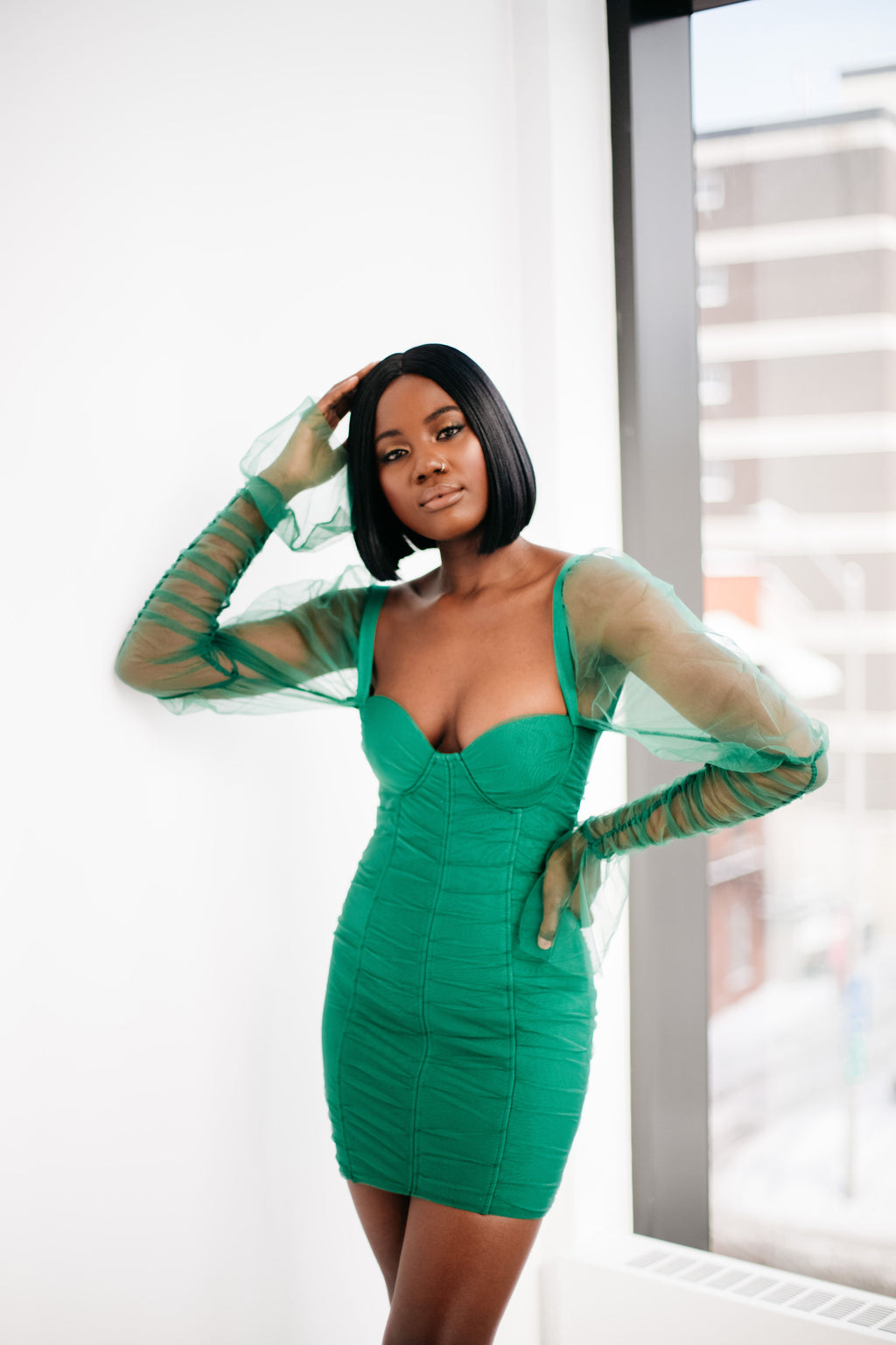 Green Mesh Sleeve Bandage Dress