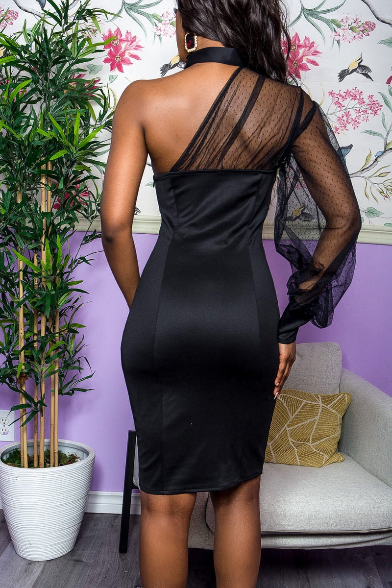 Black One-Arm Mesh Sleeve Midi Dress uloani.myshopify.com