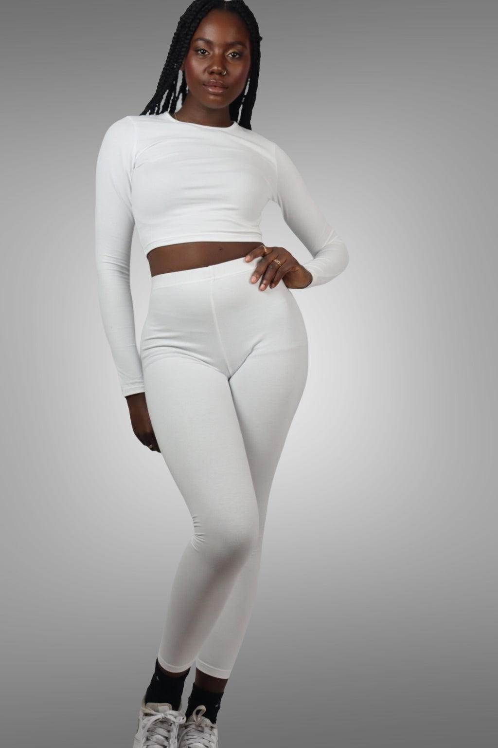 WHITE LONG SLEEVE CROP TOP SET uloani.myshopify.com