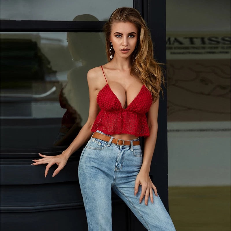Red Ruffle Deep V Party Top uloani.myshopify.com