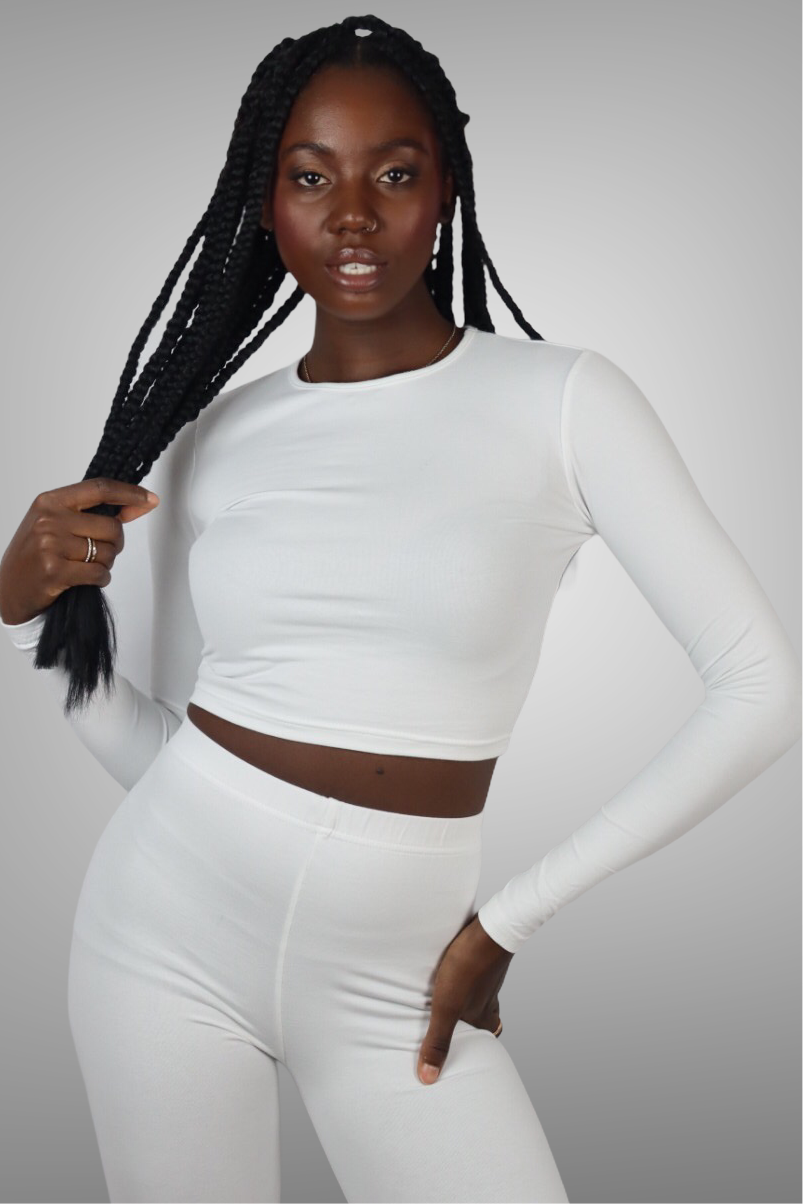 WHITE OLIVIA LONG SLEEVE CROP TOP uloani.myshopify.com