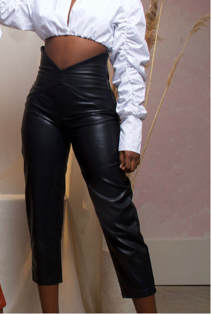 BLACK MONIQUE HIGH WAIST FAUX LEATHER PANTS
