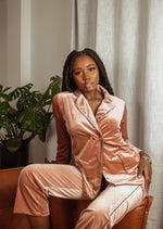 "PINK ""LOUNGE WITH ME"" VELVET SET"