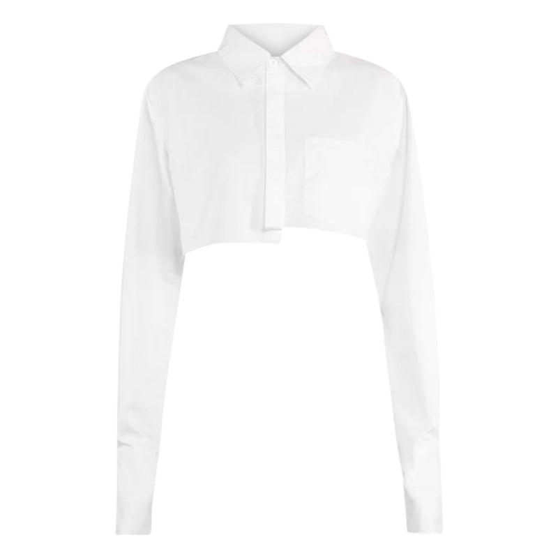 ALINA WHITE ASSYMETRICAL CROPPED DRESS SHIRT uloani.myshopify.com