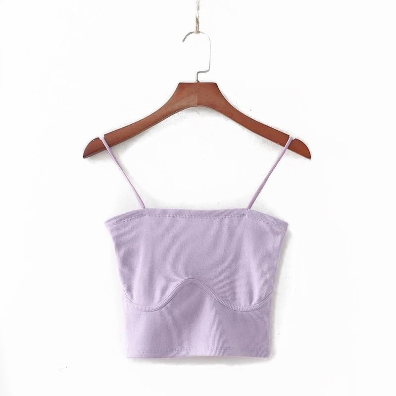 Purple Basic High Stretch Crop Top uloani.myshopify.com