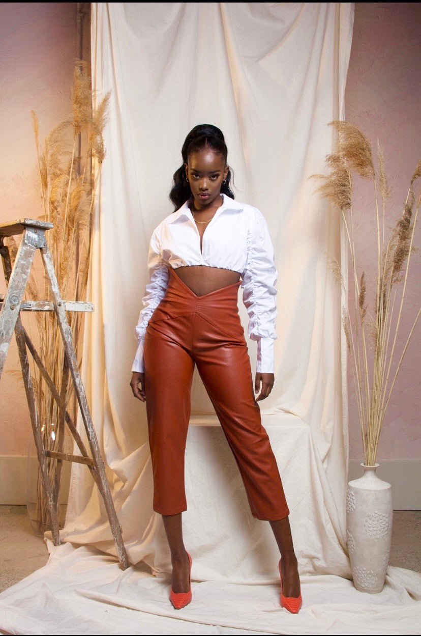 BROWN MONIQUE HIGH WAIST FAUX LEATHER PANTS