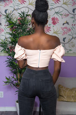 Pink Off-the-Shoulder Puffy Crop Top uloani.myshopify.com