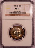 1951-D Washington Quarter  NGC MS 65
