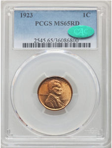 1923 Lincoln Cent  PCGS MS65RD with CAC
