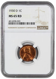 1930-D Lincoln Cent   NGC MS 65 RD
