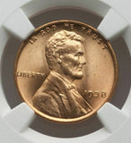 1938 Lincoln Cent  NGC MS67 RD