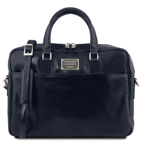 Urbino Leather laptop briefcase with front pocket
