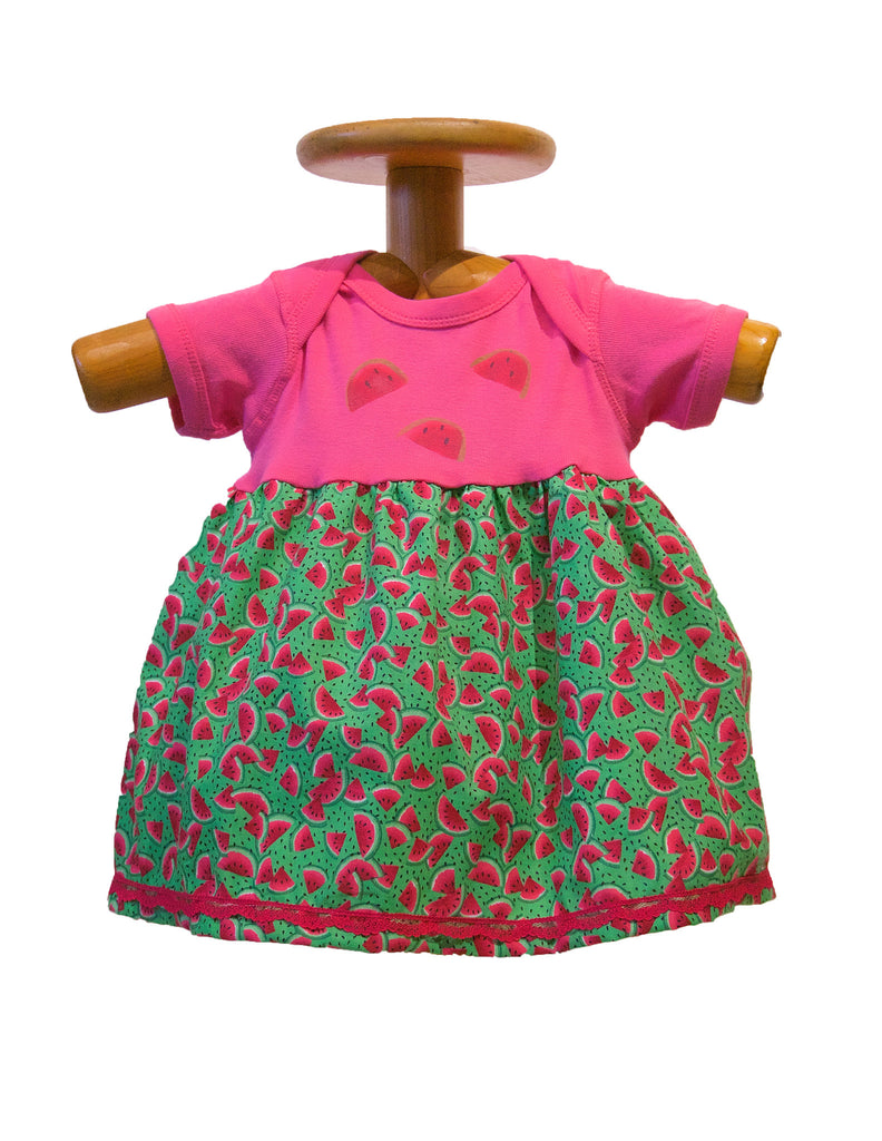 Water Mellon dress handmade and hand painted
