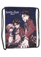 Attack On Titan Eren, Levi & Armin Drawstring Bag