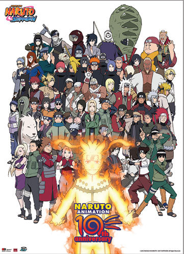 Naruto Cast 10th Anniversary Wall Scroll