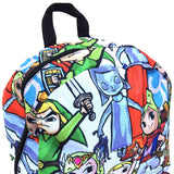 "Legend of Zelda Chibi All Over 17"" Backpack Bag Close Up"