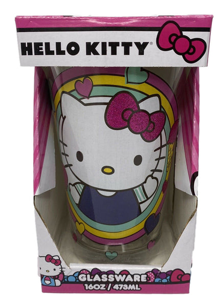 Hello Kitty Rainbow Hearts Pint Glass 16 oz