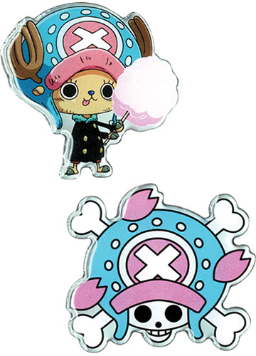 One Piece Chopper W/ Cotton Candy & Skull Lapel Pins Set of 2