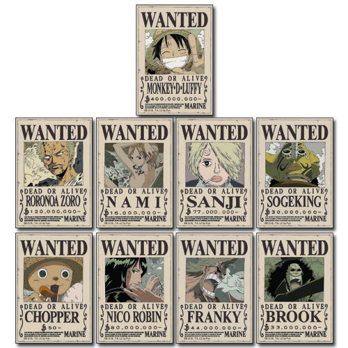 One Piece Straw Hat Crew Wanted Poster Stickers Shadow Anime