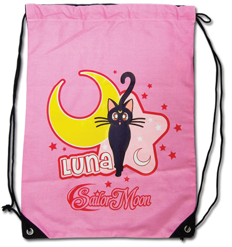 Sailor Moon Luna Cat Pink Drawstring Bag