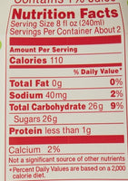 Calpico White Peach Flavor Non-Carbonated Soft Drink Soda 16.9oz Nutrition Facts