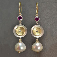 Load image into Gallery viewer, Two-Tone Disc Earrings