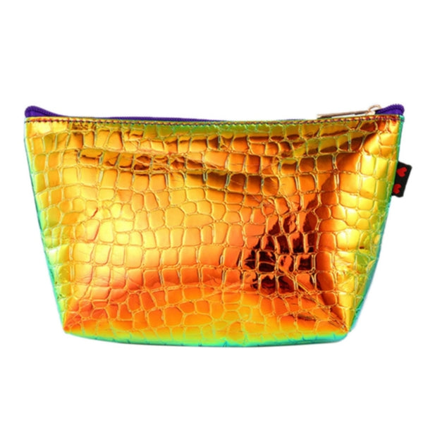 Holographic Croc Print Notions Pouch