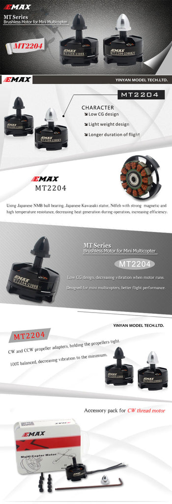 EMX-MT-0011 emax racing drone motor specs 2300kv 4 cell lipo