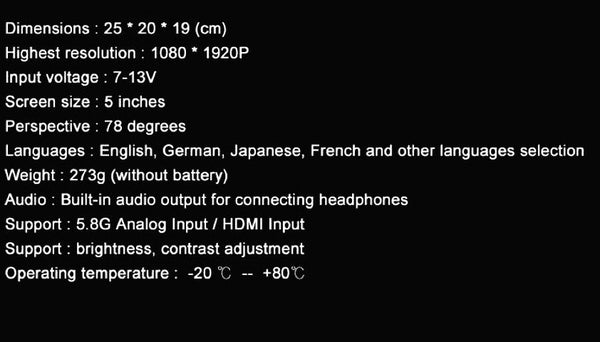 Eachine Video Goggles Specs