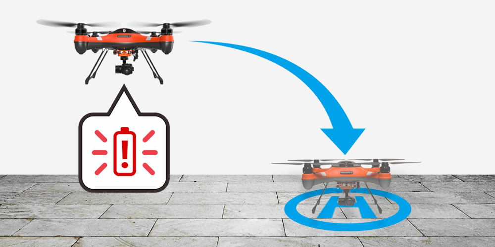 splash drone 3 plus low battery alert